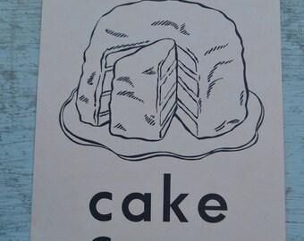 Vintage Flash Card Ephemera Picture Large 1950s - Cake