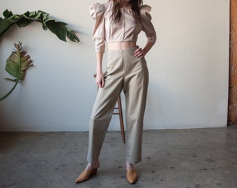 tan beige cotton high rise trousers / tapered chino pants / US 10 / 3489t / B9