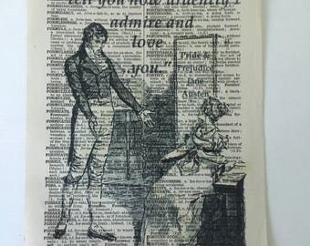 """Pride and Prejudice Vintage Dictionary Page Art Print - """"You must allow me to tell you how ardently I admire and love you"""""""