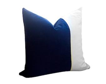 VELVET COLORBLOCK // 18x18 inch - White and Black Velvet Pillow Cover - Black Pillow - White Pillow - Decorative Pillow - Designer Pillow