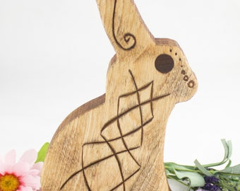 Hand Carved Ostara Eostre Bunny - Ostara Celebration - Flame Birch