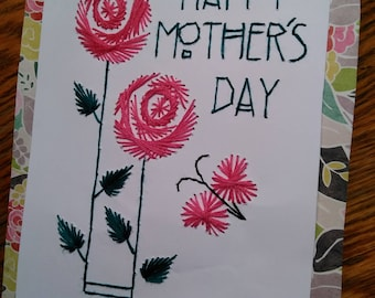 Happy Mothers Day hand stitched greeting card