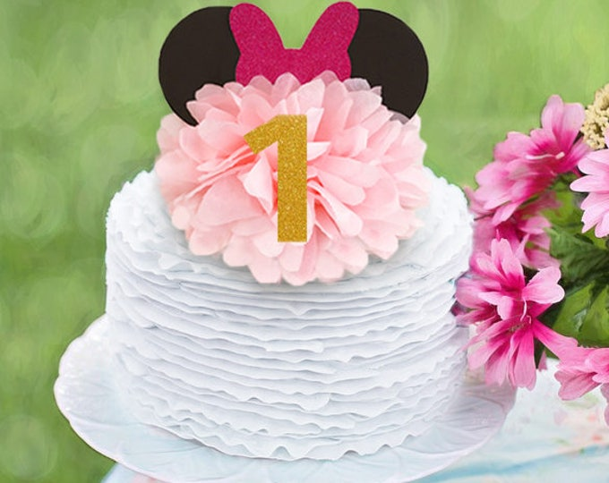 Minnie Mouse Birthday Decoration, Minnie Mouse Birthday Cake Topper, Minnie Mouse Centerpiece, Minnie Mouse First Birthday Centerpieces