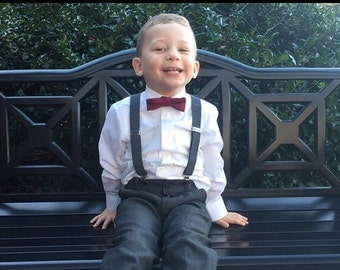 Boys Burgundy Bow Tie Charcoal Suspenders, Rustic Wedding, Baby Boy Bow Tie, Ring Bearer, Burgundy Wedding, Boy Clothes, Boys First Birthday