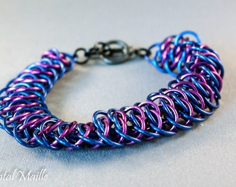 Blue and Purple Viperscale Chainmaille Bracelet