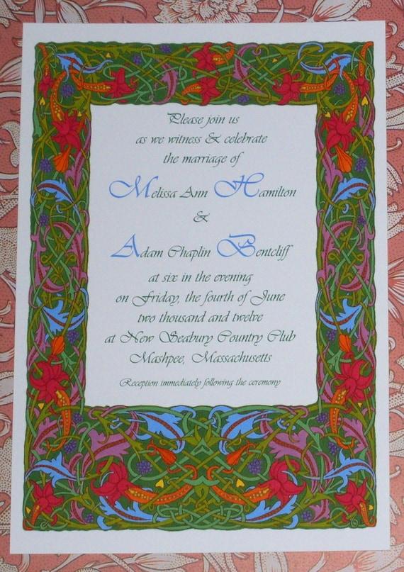 Irish vine celtic green art nouveau wedding invitation sample filmwisefo Images