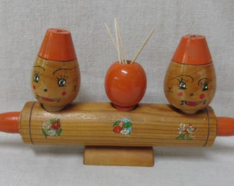 Unusual Vintage Wooden Rolling Pin with Toothpick Holder and Salt and Peppers