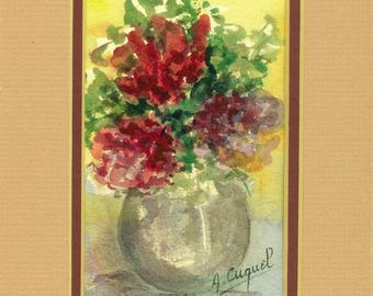 Small bouquet - original watercolor with passe partout
