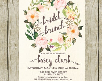 Bridal Shower Brunch Invitation Printable, Floral Bridal Shower Invitations. Bridal Brunch Invitation