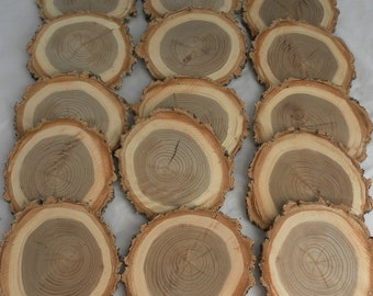 SALE! 10 tree slices- unsanded wooden craft discs/tree cookies/wood blanks- Rustic wedding decor, table numbers, wedding centerpiece