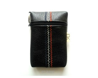 Black Faux Leather Change Pouch with Navy Union Jack Theme for Men, Keychain Coin Pouch for Men