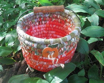 PUMPKIN PAIL   Textile  art BASKET  Bucket