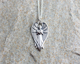Guardian Angel Pendant, Angel Necklace, Silver Angel Necklace, Angel Charm, Angel Jewellery, Angel Jewelry, Pretty Necklace,