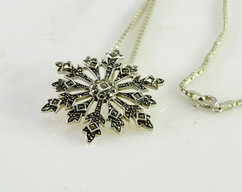 "Marcasite Star Burst Pendant on a 23"" Chain All Sterling"