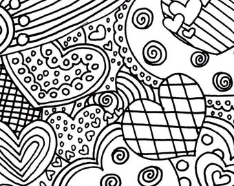Hearts adult printable coloring page