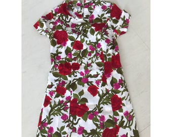 Pretty tose print flocked 1960s dress