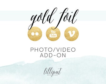 Gold Foil Social Media Icons | Photo & Video Add-On Pack