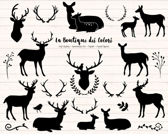 Black Deer Silhouette Clipart Cute Graphics Png