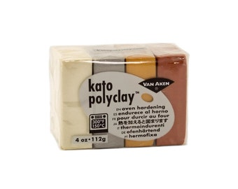 KATO Polymer CLAY Polyclay Oven Bake 4 pc Set METALLICS 4 oz Gold Silver Copper Pearl