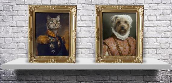 CUSTOM regal royal family pet portrait old fashioned painting military Print from photo - Choose your pet, Gender, and Size