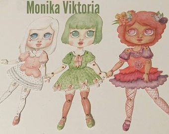 Blythe Paper Doll - 3 Illustrated Designs