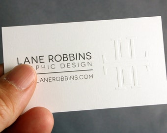 400 Business Cards - blind embossed - 16PT heavy silky matte stock