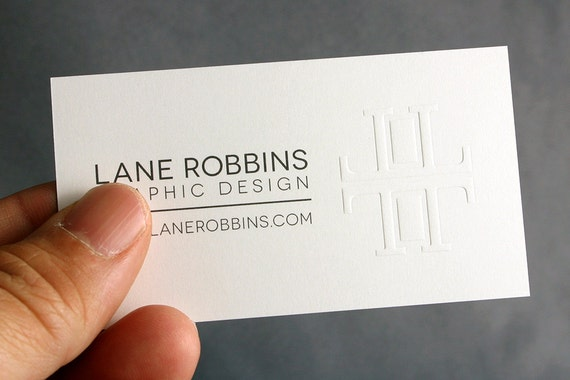 Items similar to 400 business cards blind embossed 16pt heavy items similar to 400 business cards blind embossed 16pt heavy silky matte stock on etsy reheart Gallery