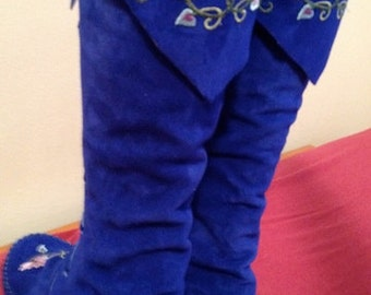 Earthgarden Fairytale knee high Boots Cobalt Blue with rubber soles and flowers ORDER YOUR SIZE