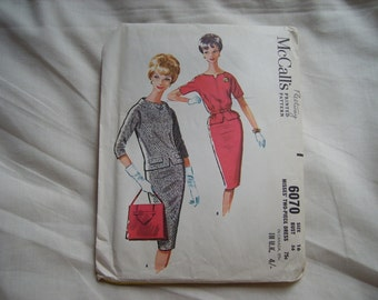 Vintage Mcalls sewing/dressmaking two picee dress pattern, factory folded, bust size 36 inches