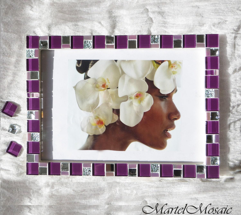 8x12 frame - Mosaic wall photo frame - Purple frame - Photo frame ...