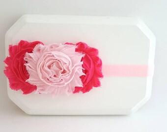 Hot Pink and Soft Pink Baby Headband, Toddler Headband, Hot Pink Headband, Newborn Headband, Pink Cake Smash, Pink Baby Headband - Hair Bows