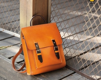 Best Real Leather Backpack Women Men 6026