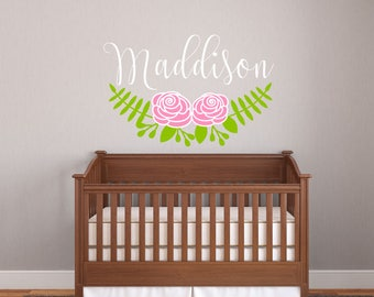 Wall Decal,Baby Name Decal,Personalized Wall Art,Floral Decal,Girl,Nursery Decal, Nursery Decor, Baby Decal, Baby Wall Art, Boy,Girl,Sticker