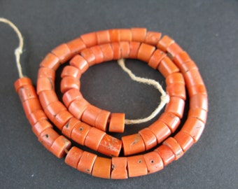 Antique Mediterranean Natural Coral beads,Natural Coral Necklace, Coral Jewelry, Natural Color Coral, Free shipping!