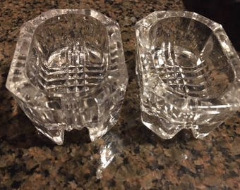 Vintage Set of 2 Cut Glass Salt and Pepper Dip Bowls