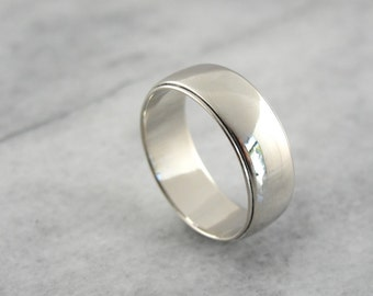 Sleek White Gold Men's Wedding Band, Vintage Ring by the Art Carved Company D4Q7X8-R