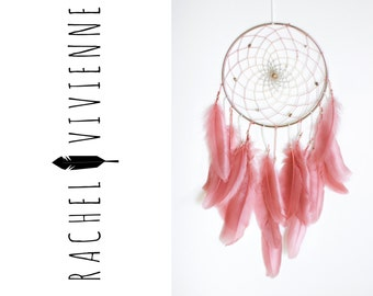 6 Inch Silver Pink Berry Ombre Boho Chic Dreamcatcher