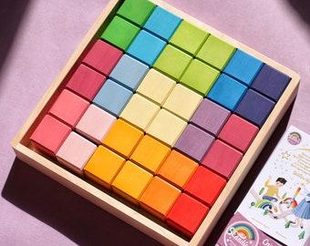 Rainbow wooden blocks set / Wooden blocks / Building blocks set / montessori materials