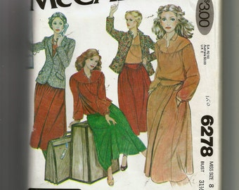 McCall's Misses' Blouse, Blazer, and Wrap-Skirt Pattern 6278