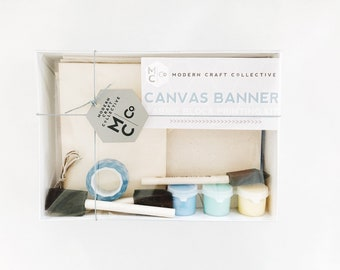 Craft Kit, Canvas Banner Block Printing Craft Kit DIY Adult Art Project