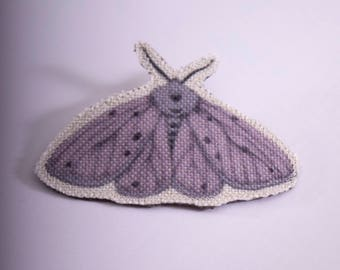 Purple Hairy Night Moth Brooch / Illustrated pin / Fabric brooch / Butterfly pin / Butterfly brooch / moth  / purple moth / purple butterfly