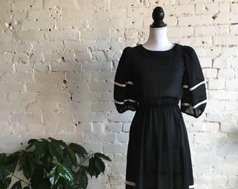50s Inspired Sheer Nautical Dress Black/White