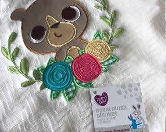 Custom Baby Blanket - Embroidered Baby Blanket - Personalized Baby Blanket - Baby Animal Blanket - Receiving Blanket - Custom Color Blanket