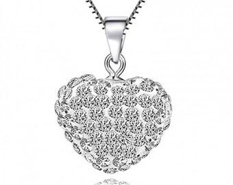 Heart White CZ 925 Sterling Silver