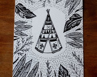 Tipi illustration card