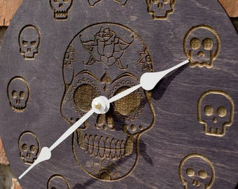 Wall Clock, White Sugar Skull clock, Day of the Dead, Dia de Los Muertos, Gift for Him, gift for boyfriend gift for brother, men gift