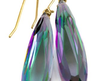 Purple Green Simulated Mystic Topaz Earrings Facet Large Long Dangle 14k Gold or Filled or Sterling Silver Classic Simple Clean 2 Inch Drops