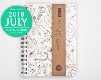 2018 2019 planner with a high quality paper! Botanical floral herbal A5 Diary! Weekly daily Calendar Kalender Agenda Open-dated available