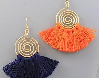 Gameday Orange & Navy Earrings