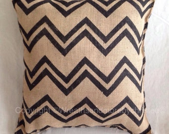 Chevron burlap pillow 16x16